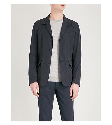 SLOWEAR Slim-fit cotton-shell jacket (Navy