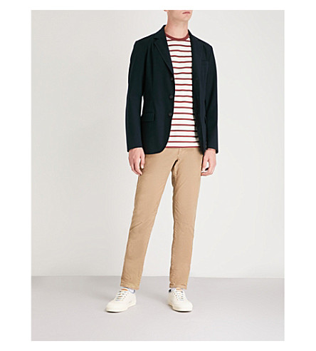 SLOWEAR Single-breasted piqué jacket (Navy