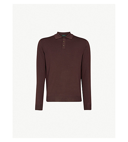SLOWEAR Long-sleeved wool-blend polo shirt (Burgundy