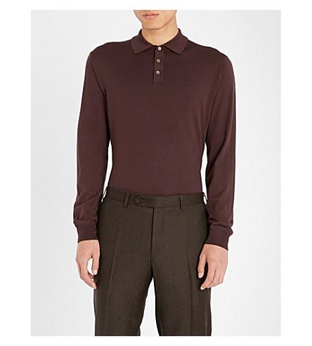 SLOWEAR Long-sleeved wool-blend polo shirt (Burgundy
