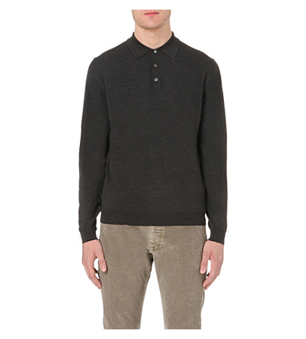 SLOWEAR Long-sleeved wool-blend polo shirt (Charcoal