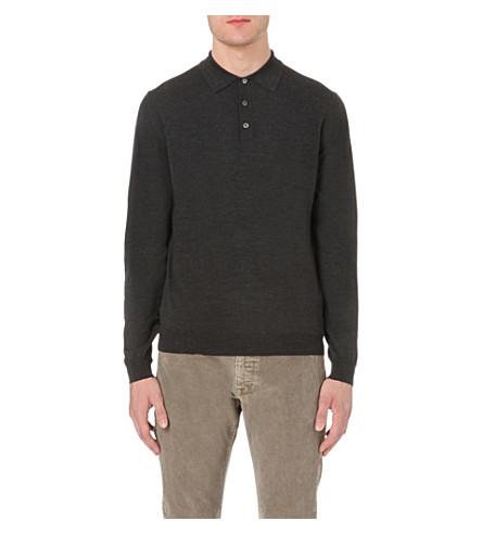 Slowear long sleeved wool blend polo shirt for Long sleeve wool polo shirts