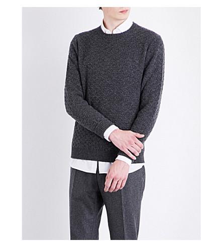 SLOWEAR Basketweave knitted wool jumper (Charcoal