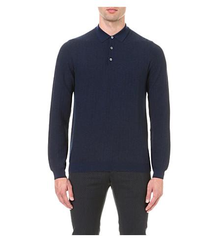 Slowear long sleeved herringbone wool polo shirt for Long sleeve wool polo shirts