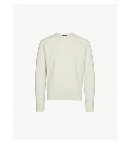 SLOWEAR Contrast-stitch wool and cashmere-blend jumper (Grey