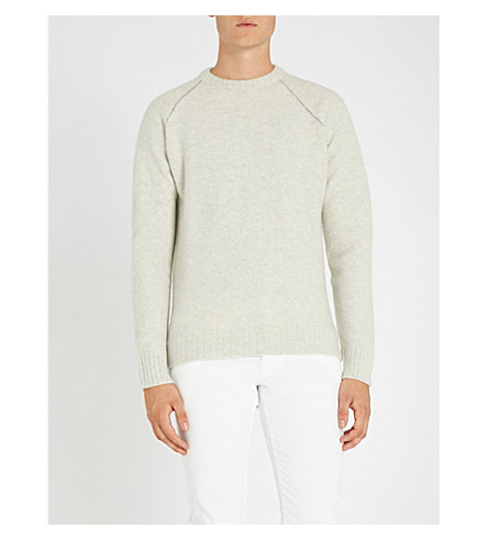 SLOWEAR Contrast-stitch wool and cashmere-blend jumper (Grey
