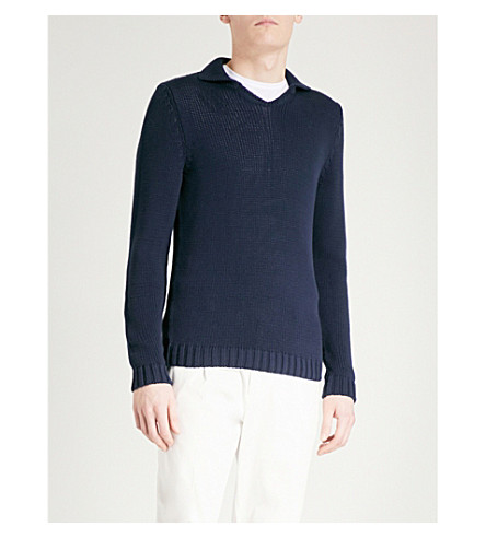 SLOWEAR Open-neck cotton polo jumper (Navy
