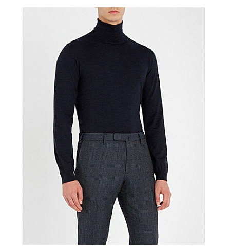 SLOWEAR Turtleneck flexwool knitted jumper (Navy