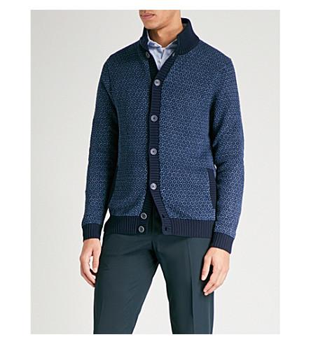 SLOWEAR Textured-knit cotton and linen-blend cardigan (Navy