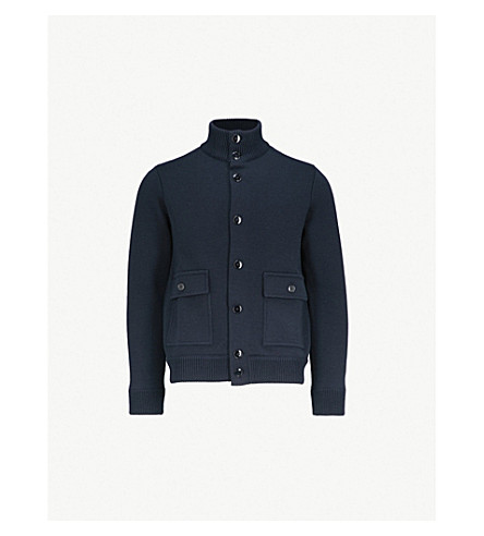 SLOWEAR High-neck wool knitted bomber jacket (Navy