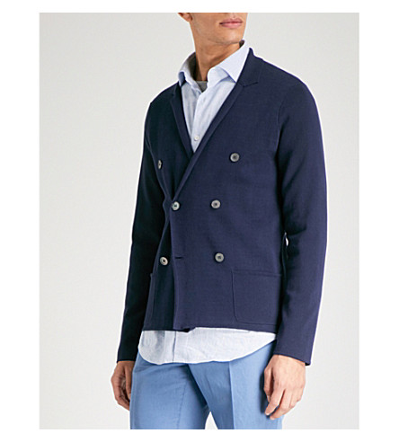 SLOWEAR Milano double-breasted cotton cardigan (Navy