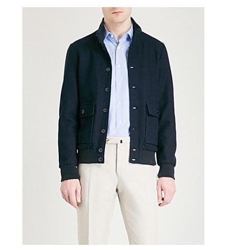 SLOWEAR Textured cotton bomber jacket (Navy