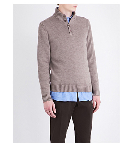 SLOWEAR Band-collar knitted wool jumper (Oatmeal