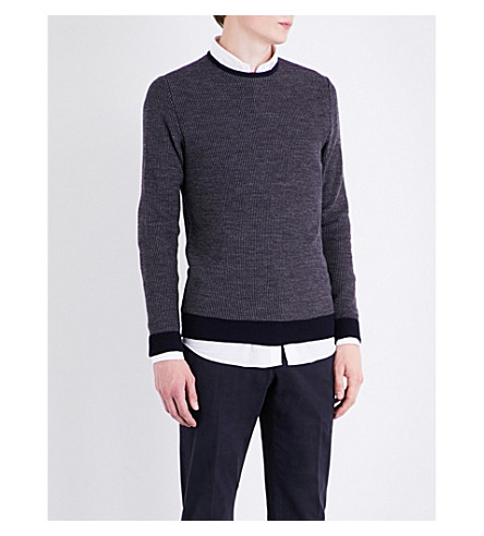 SLOWEAR Waffle-knit wool and cotton-blend jumper (Navy