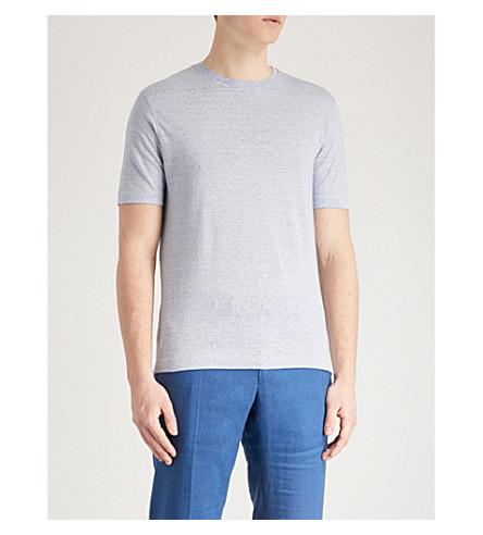 SLOWEAR Zanone linen-blend T-shirt (Blue