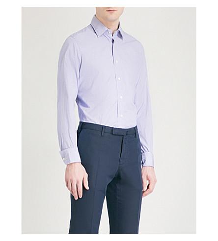 SLOWEAR Mini check cotton Oxford shirt (Blue