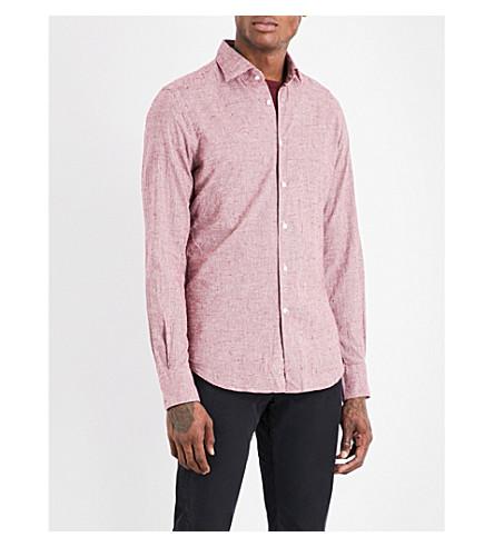 SLOWEAR Gingham slim-fit brushed-cotton shirt (Bordeux