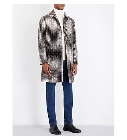 LARDINI Houndsooth wool-blend coat (Brown