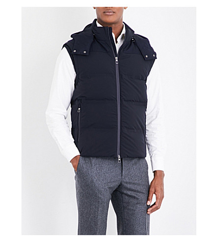 LARDINI Quilted shell gilet (Navy