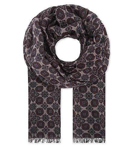 LARDINI Printed wool scarf (Blue