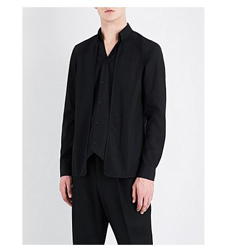 CHALAYAN Layered regular-fit cotton-poplin shirt (Black