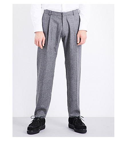 CHALAYAN Oversized tapered mid-rise wool trousers (Concrete