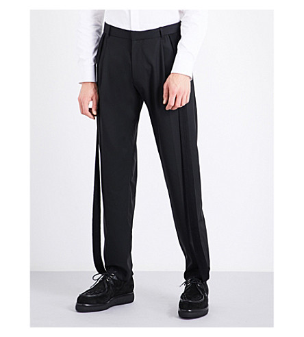 CHALAYAN Strip-embroidered regular-fit tapered mid-rise wool trousers (Black