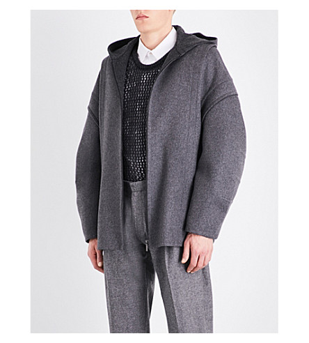 CHALAYAN Loden puff-sleeve wool and cashmere-blend hoody (Concrete/anthracite