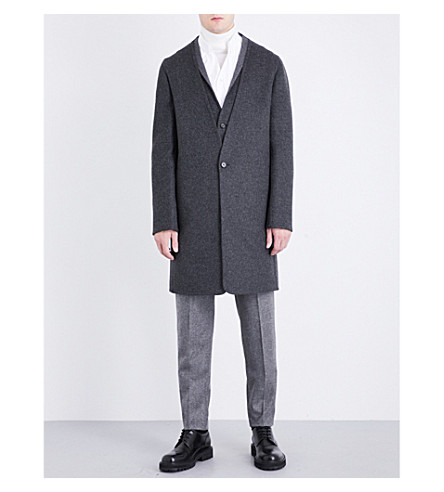 CHALAYAN V-neck wool and cashmere-blend peacoat (Anthracite/concrete