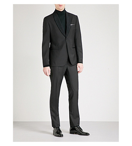 HARDY AMIES Flocked-lapel heddon-fit wool and mohair-blend evening jacket (Black
