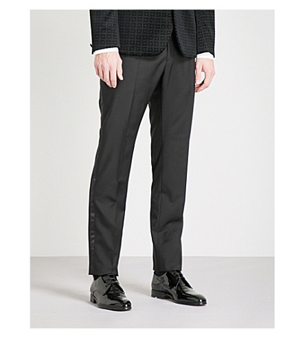 HARDY AMIES Heddon-fit straight wool and mohair-blend trousers (Black