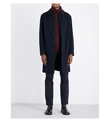MACKINTOSH Storm System felted wool mac (Navy