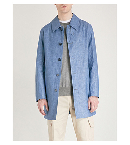 MACKINTOSH Collared linen mac (Denim