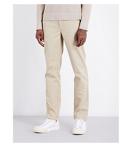 OFFICINE GENERALE Regular-fit tapered cotton chinos (Stone