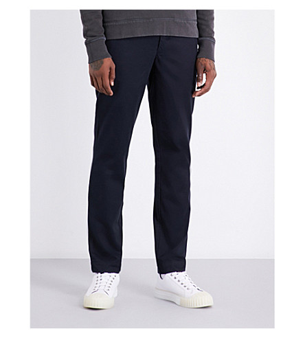 OFFICINE GENERALE Regular-fit tapered cotton chinos (Dark+navy