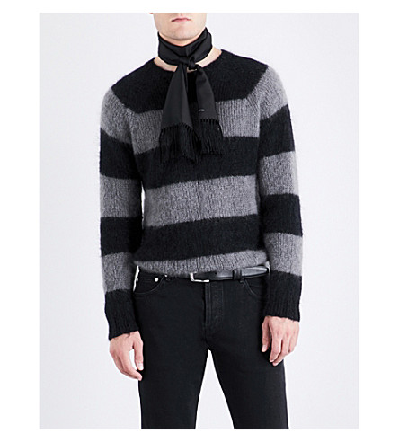 OFFICINE GENERALE Striped mohair-blend jumper (Black+grey