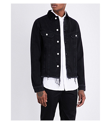 OFFICINE GENERALE Ripped-hem denim jacket (Black