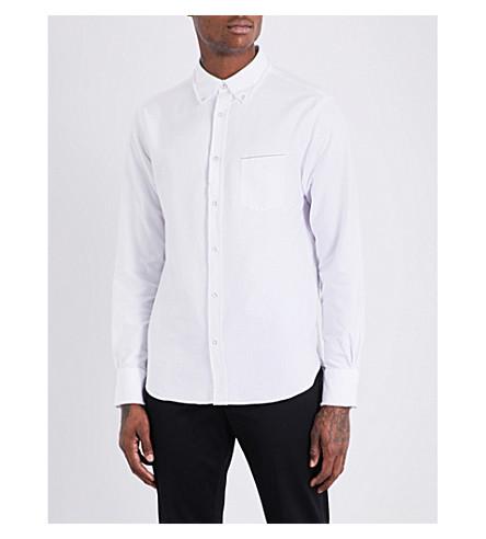 OFFICINE GENERALE Raw-hem slim-fit cotton shirt (White