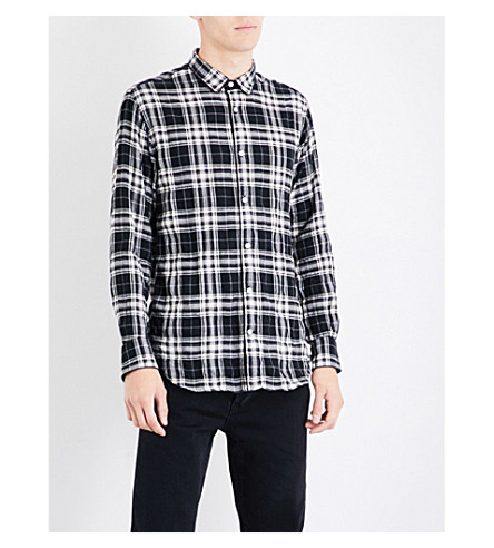 OFFICINE GENERALE Checked slim-fit brushed-cotton shirt (Black+white