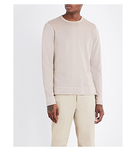 OFFICINE GENERALE Crewneck cotton-jersey sweatshirt (Greige
