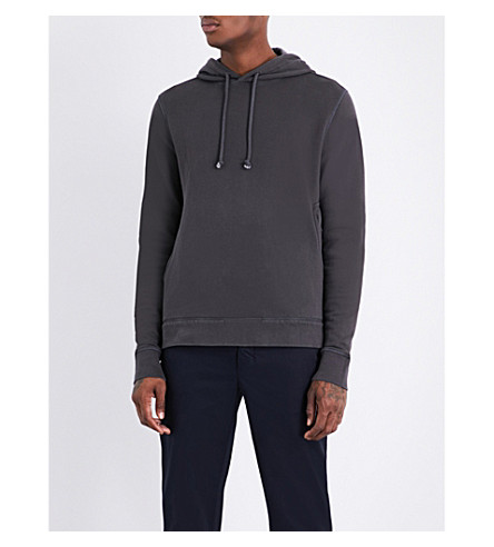 OFFICINE GENERALE Faded-wash cotton hoody (Faded+black
