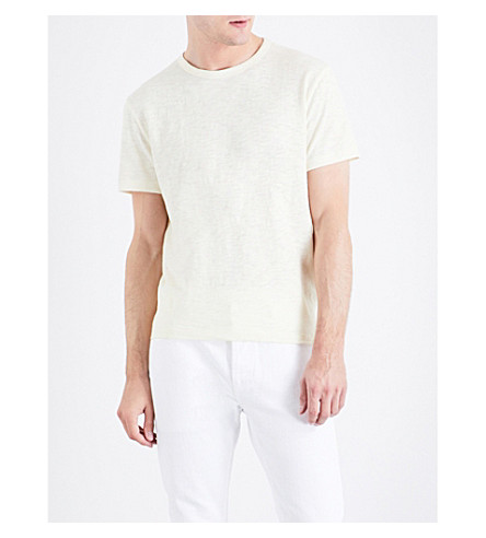 OFFICINE GENERALE Marl-effect cotton T-shirt (White