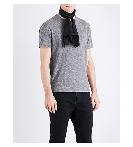OFFICINE GENERALE Marl-effect cotton T-shirt (Grey