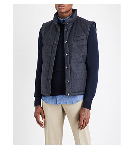 THOM SWEENEY Reversible wool and cashmere-blend gilet (Navy