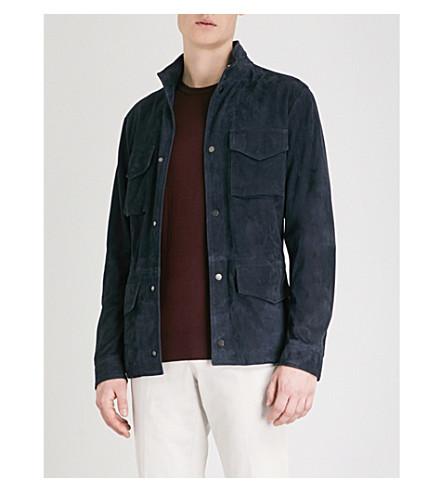 THOM SWEENEY Pocket-detail suede field jacket (Navy
