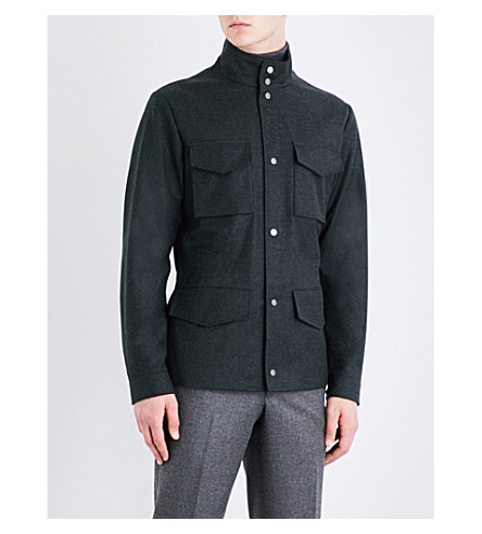 THOM SWEENEY Funnel-neck wool and cashmere-blend jacket (Forest