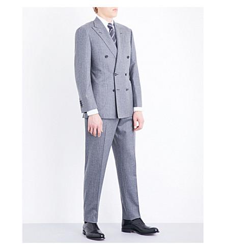 THOM SWEENEY Chalkstripe tailored-fit wool-flannel suit (Grey