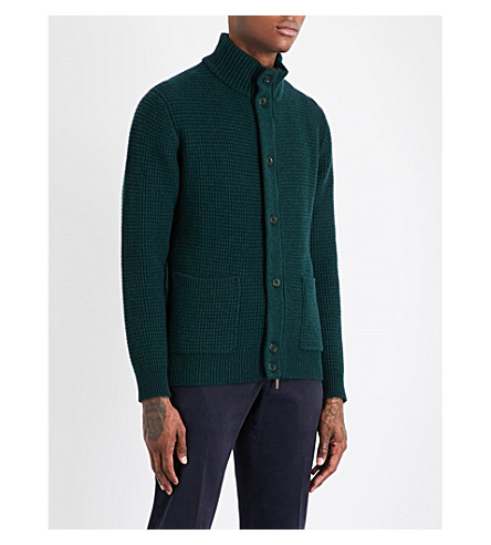 THOM SWEENEY Waffle-knit cashmere cardigan (Forest