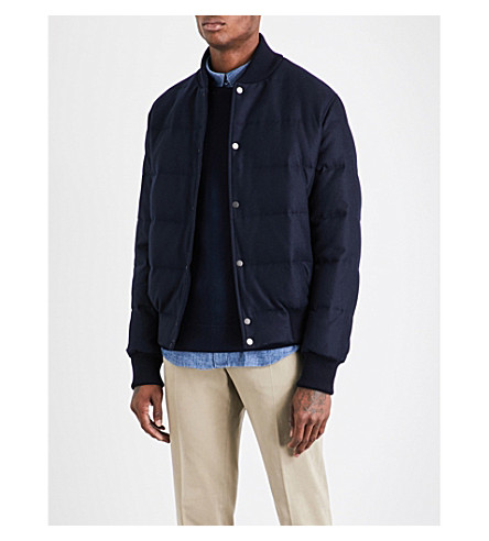 THOM SWEENEY Wool and cashmere-blend quilted bomber jacket (Navy