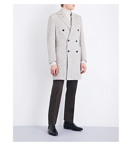 THOM SWEENEY Twill-weave wool, alpaca and silk-blend carcoat (Stone